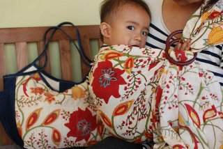SL-BBM 大花(赤)スリング&大きいバッグ