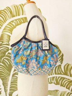 珊瑚(ブルー)裾柄あり ミニグラニーバッグ