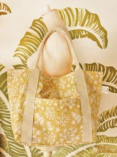 sisiオリジナルインドコットン、ブロックプリント珊瑚柄(ハニーイエロー) キャンバスバッグ定番サイズ