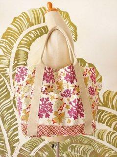 珊瑚(ホワイト)裾柄あり キャンバスバッグ定番サイズ