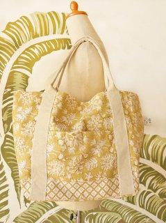 珊瑚(ハニーイエロー)裾柄あり キャンバスバッグ定番サイズ