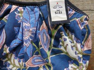sisiインドコットン 大花(紺)グラニーバッグ(120%ビッグサイズ )