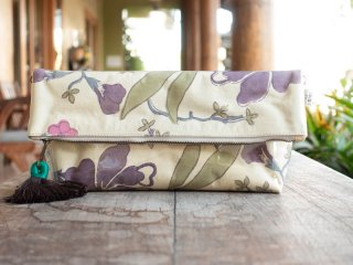 新大花(紫) 防滴ポーチ(大)肩掛け紐付