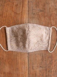 耳に優しいタイプのゴムを使った布マスク(男女兼用Lサイズ)レース(グレージュ) L-MSK-BRD-GG
