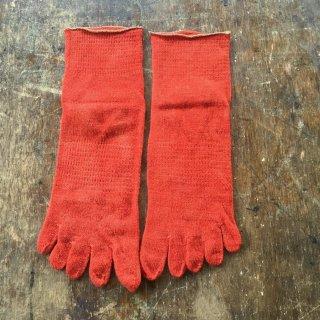 定番茜染めシルクウール五本指靴下