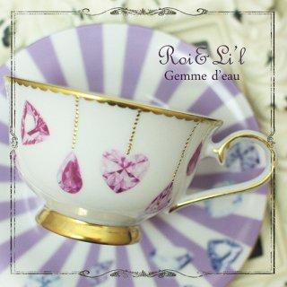 転写紙 『Gemme d' eau - ピンク  水の宝石』 白磁 陶芸 焼成用 A4サイズ【Roi&Li'l】ポーセリンアート