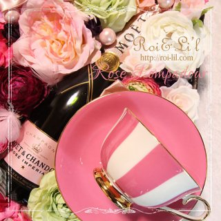 転写紙 『Rose-Pompadour ローズ・ポンパドゥール  (ピンク単色)』 白磁 陶芸 焼成用 A3サイズ【Roi&Li'l】ポーセリンアート