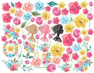 転写紙 『Royal Garden ロイヤルガーデン』 白磁 陶芸 焼成用 A4サイズ【Roi&Li'l】ポーセリンアート