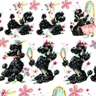 転写紙 『おしゃれプードル♥』 白磁 陶芸 焼成用 A3サイズ【Roi&Li'l】ポーセリンアート