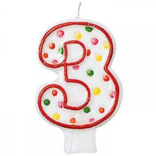 ナンバーキャンドル#3 ポルカドット<br>【Polka Dots】