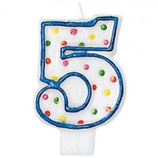 ナンバーキャンドル#5 ポルカドット<br>【Polka Dots】
