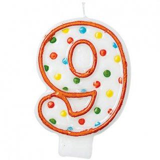 ナンバーキャンドル#9 ポルカドット<br>【Polka Dots】