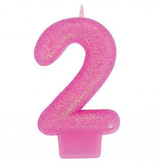ナンバーキャンドル#2 ピンクラメ<br>【Pink Lamé】<br>
