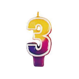 ナンバーキャンドル#3 マルチカラー<br>【Multi Color】