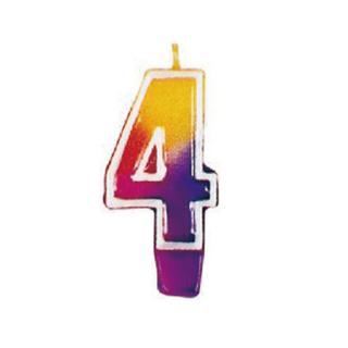 ナンバーキャンドル#4 マルチカラー<br>【Multi Color】
