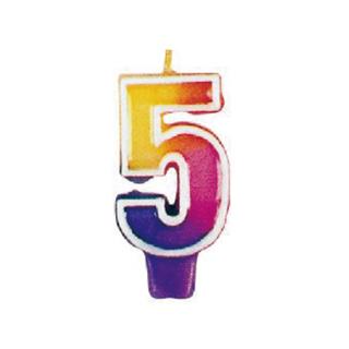 ナンバーキャンドル#5 マルチカラー<br>【Multi Color】