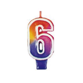 ナンバーキャンドル#6 マルチカラー<br>【Multi Color】