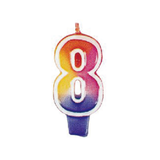 ナンバーキャンドル#8 マルチカラー<br>【Multi Color】