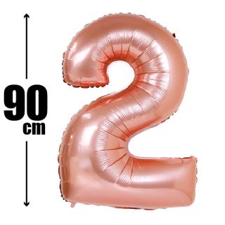 数字バルーン ナンバーバルーン【ローズゴールド】約90cm BIG風船