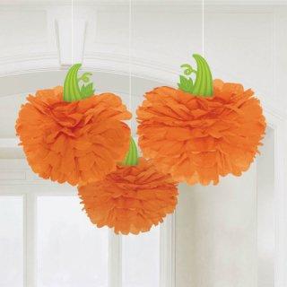 フラワーポムデコレーション ハロウィン パンプキン かぼちゃ 天井飾り オレンジ<br>【HALLOWEEN】
