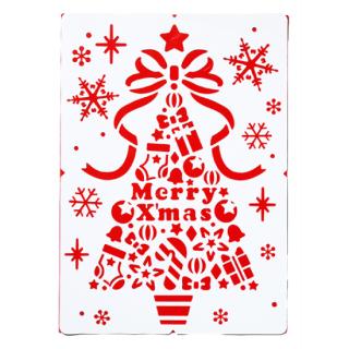 【クリスマス】スノースプレー用型紙(A2) クリスマスツリー型