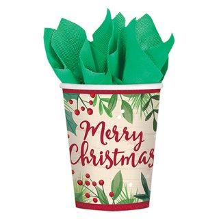 クリスマスパーティー 9ozカップ メリーホリーデー 8個入り 【Christmas】