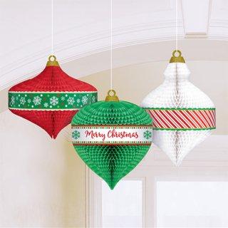 クリスマスパーティー  ハンギングデコレーション オーナメントハニーカム ハニカム 天井飾り 3個セット【 Christmas 】