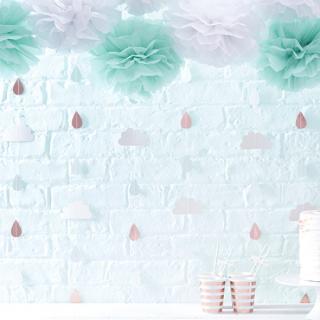 【Ginger Ray】雲としずくのガーランド レインドロップ  ハローワールド バックドロップ 壁の飾り ミントグリーン&ローズゴールド(HW-809)