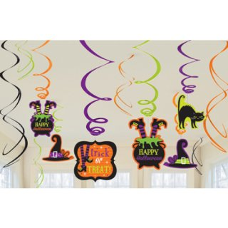 ハロウィン 天井飾り 吊るす飾り バリューパックフォイルスワールデコレーション ウィッチ【HALLOWEEN】