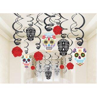 ハロウィン 天井飾り 吊るす飾り スワールデコレーション ブラックアンドボーン【HALLOWEEN】
