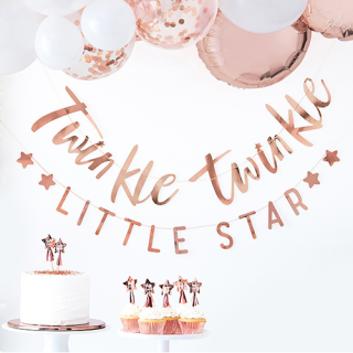【Ginger Ray】レターバナー Twinkle Twinkle LITTLE STAR ローズゴールド【Baby Shower】<img class='new_mark_img2' src='https://img.shop-pro.jp/img/new/icons1.gif' style='border:none;display:inline;margin:0px;padding:0px;width:auto;' />