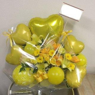 黄色系バルーンフラワーアレンジ