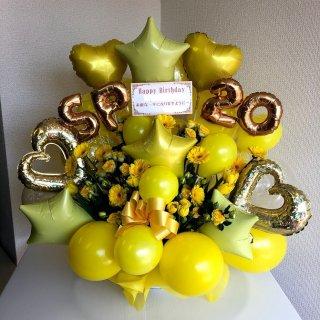 黄色系ボリュームバルーンアレンジ