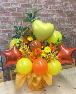黄色&オレンジ系のバルーンアレンジメント