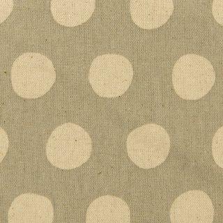 【cotton linen】シンプルドット×コットンリネンキャンバス|ナチュラルベース生地|グレー|