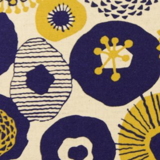【cotton linen】フラワーブローチ×コットンリネンキャンバス|北欧風シンプルデザイン|ナチュラル×ネイビー|