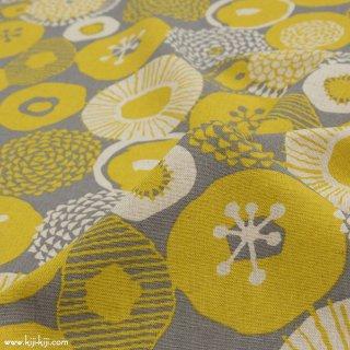 【cotton linen】フラワーブローチ×コットンリネンキャンバス|北欧風シンプルデザイン|グレー×イエロー|