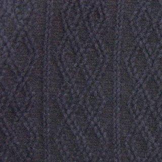 【wool】ウールケーブルニットジャガード|アンゴラ混紡|135cm巾|ダークネイビー|