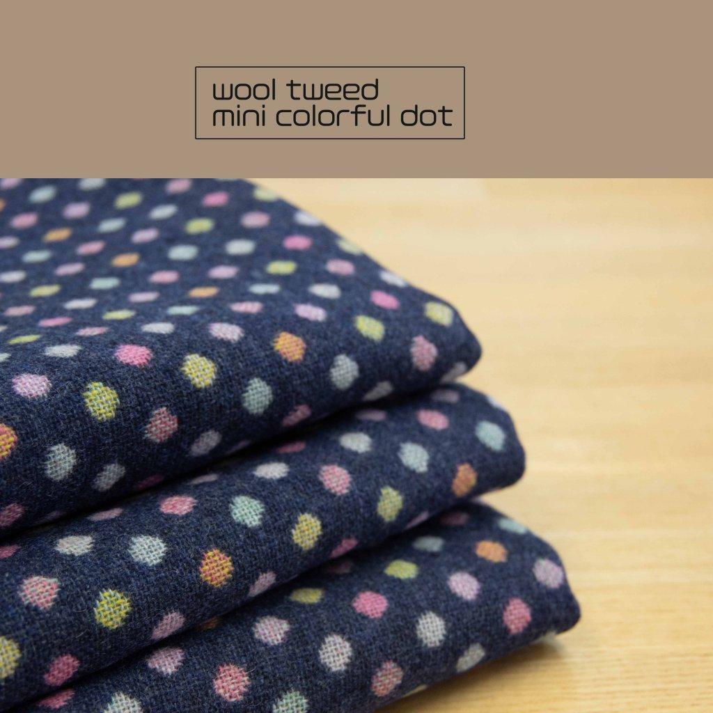 ミニカラフルドット×ウールツイード|ドビー織|145cm巾|ネイビー|