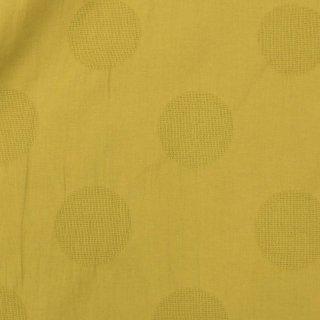 【cotton linen】くしゅっとしたコットンリネンのドットジャガード|約6cmドット|カラミ織|マスタード|