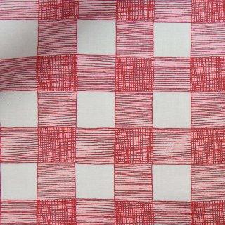 【USAコットン】フリーハンドのギンガムチェック|moda fabrics|モダファブリックス|レッド|