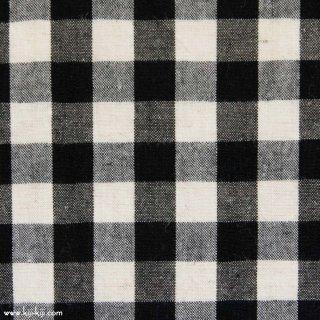 【cotton linen】ナチュラルウォッシュ仕上げのコットンリネン|9mmギンガム|ブラック|