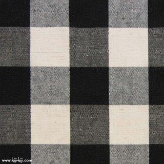 【cotton linen】ナチュラルウォッシュ仕上げのコットンリネン|30mmギンガム|ブラック|