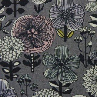 【リニューアル】【cotton linen】flower bloom×W巾コットンリネンキャンバス|北欧風デザイン|グレー|