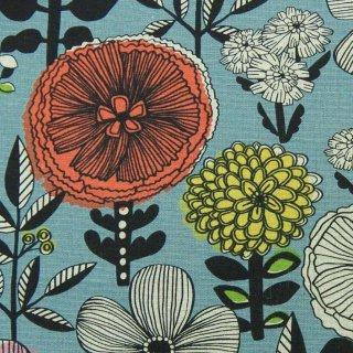 【リニューアル】【cotton linen】flower bloom×W巾コットンリネンキャンバス|北欧風デザイン|ブルーグレー|
