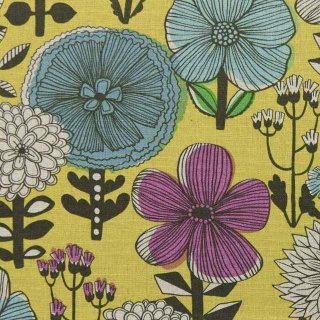 【リニューアル】【cotton linen】flower bloom×W巾コットンリネンキャンバス|北欧風デザイン|スモークイエロー|