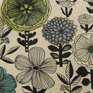 【リニューアル】【cotton linen】flower bloom×W巾コットンリネンキャンバス|北欧風デザイン|ナチュラル|