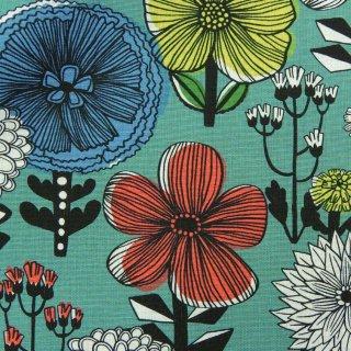 【リニューアル】【cotton linen】flower bloom×W巾コットンリネンキャンバス 北欧風デザイン スモークグリーン <img class='new_mark_img2' src='https://img.shop-pro.jp/img/new/icons5.gif' style='border:none;display:inline;margin:0px;padding:0px;width:auto;' />