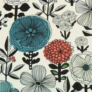 【リニューアル】【cotton linen】flower bloom×W巾コットンリネンキャンバス|北欧風デザイン|ホワイト|