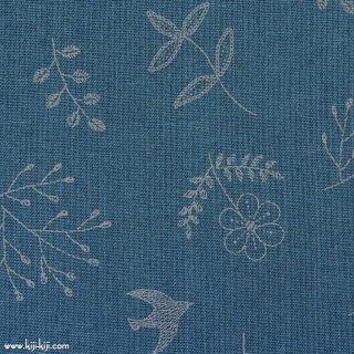 【cotton linen】繊細なステッチバード|コットンリネンシーチング|グレイッシュブルー|